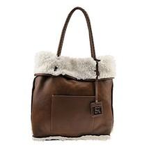 SR Squared By Sondra Roberts Reversible Faux Shearling Tote Bag Brown-White - $49.99