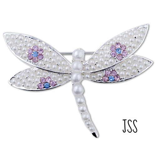 Jss vintage white pearl dragonfly