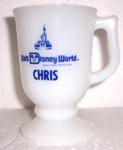 "WALT DISNEY WORLD ""CHRIS"" MILK GLASS NAME PEDESTAL MUG"