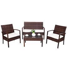 Hulaloveshop 4 pcs Garden Lawn Rattan Cushioned Seat Wicker Sofa Furnitu... - $309.82