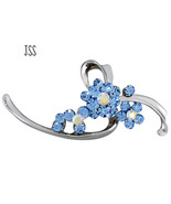 Sky Blue Lace Flower Brooch Lapel Pin - $7.25