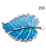 Glitter Blue Leaf Brooch Lapel Pin - $13.50