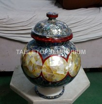 "12"" Marble Flower Decorative Pot Pauashell Abalone Inlay Stone Patio Dec... - $744.88"