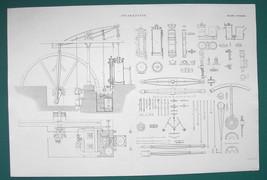STEAM ENGINE 25 inch Cylinder 5 Strokes & Details - c. 1835 Fine Quality... - $19.89