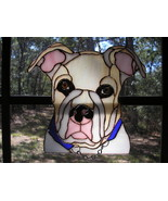 Unique Stained Glass' Perfect Portrait of Ginger our American Bulldog - $0.00