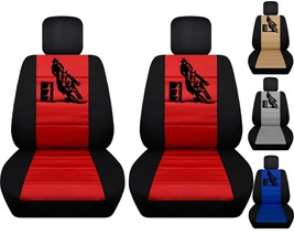 Front set car seat covers fits Chevy Silverado 2008-2021  with barrel design - $99.99