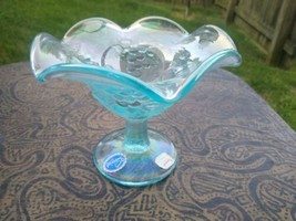 Vintage Imperial Grape Carnival glass compote blue.... iridized - $29.99