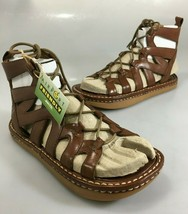 Earth Kalso Womens 6.5 Athena Brown Leather Gladiator Lace-Up Sandals NEW - $65.66