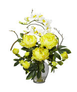 Peony & Orchid Silk Flower Arrangement, Nearly Natural - £52.80 GBP
