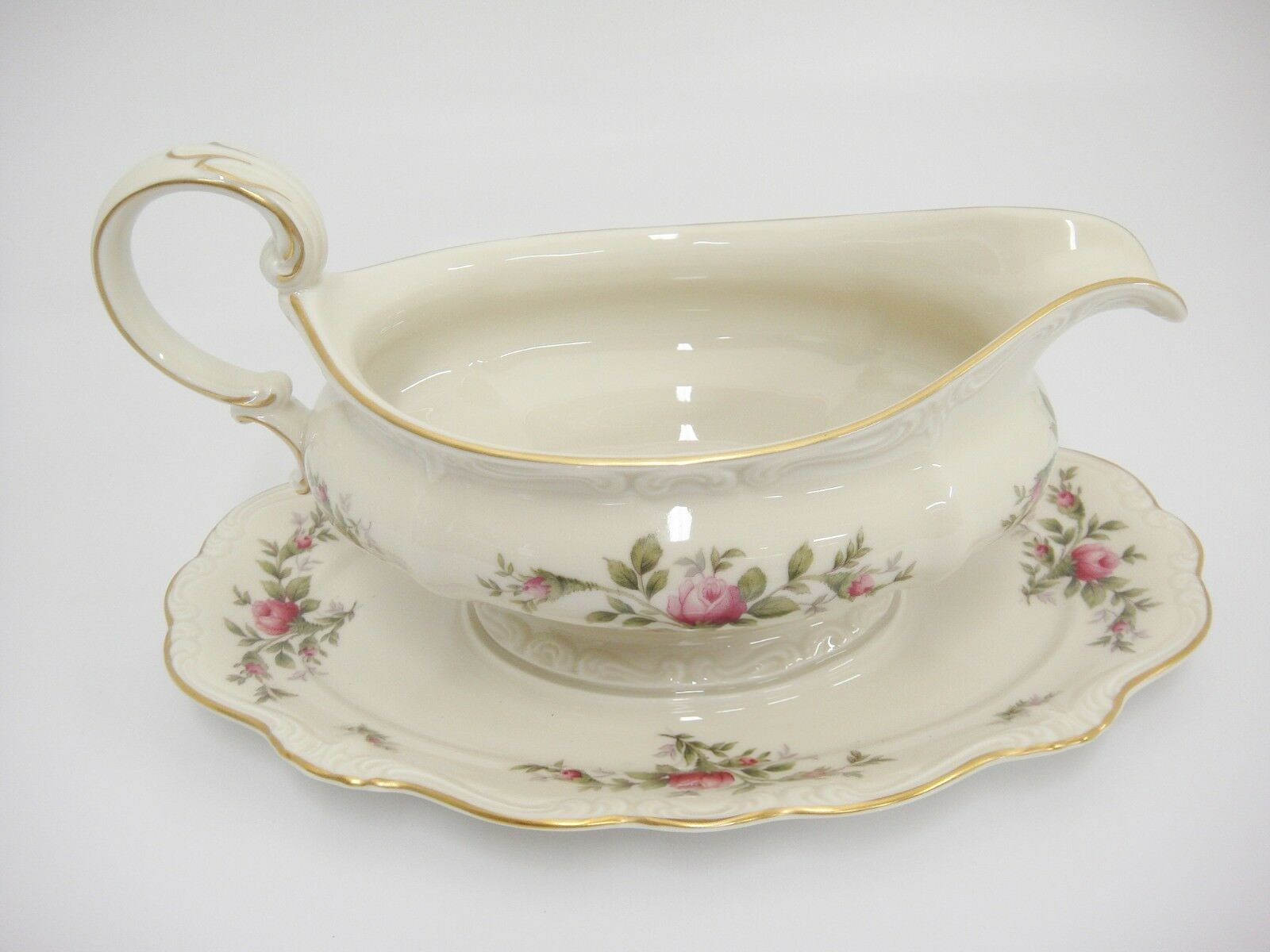 Primary image for Rosenthal Antoinette Moss Rose Gravy Boat Attached Underplate Pompadour Mint
