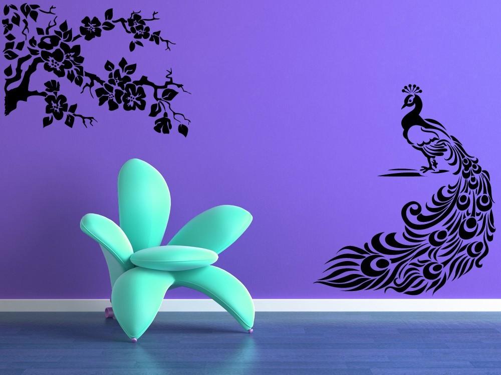 peacock and blossoming branch lot of 2 vinyl wall art de decals stickers vinyl art. Black Bedroom Furniture Sets. Home Design Ideas