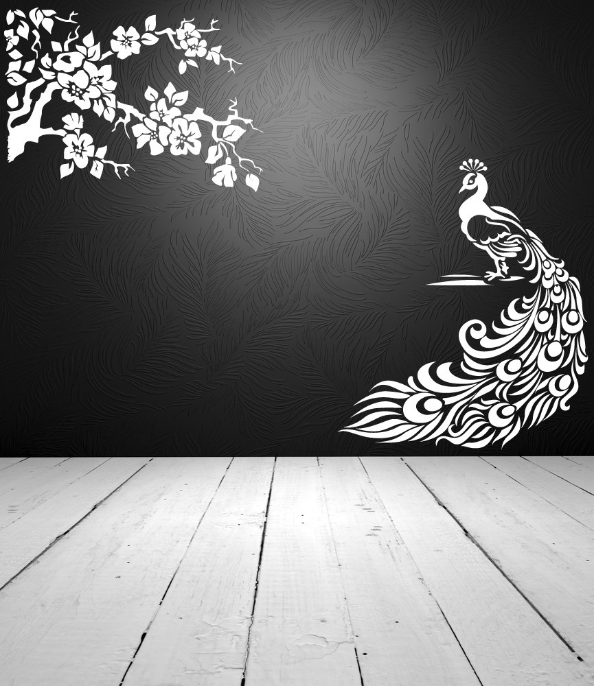 peacock and blossoming branch lot of 2 vinyl wall art de decals stickers vinyl art. Black Bedroom Furniture Sets. Home Design Ideas