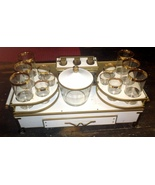 Antique Bar Set with Metal Cart and Original Gl... - $389.99