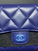 BNIB AUTH CHANEL BLUE QUILTED LAMBSKIN LARGE TRI-FOLD WALLET CLUTCH  image 6