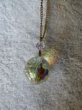 """VINTAGE 1970s Aurora Borealis Cut Crystal Ball Pendant on 24"""" Goldtone C... - $35.00"""
