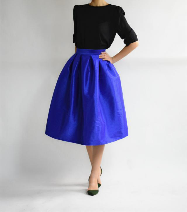 Elegant COBALT BLUE A-line Pleated Taffeta Skirt Ruffle Plus Size Pleated Skirts