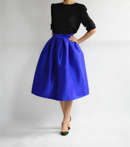 Elegant COBALT BLUE A-line Pleated Taffeta Skirt Ruffle Plus Size Pleated Skirts image 1