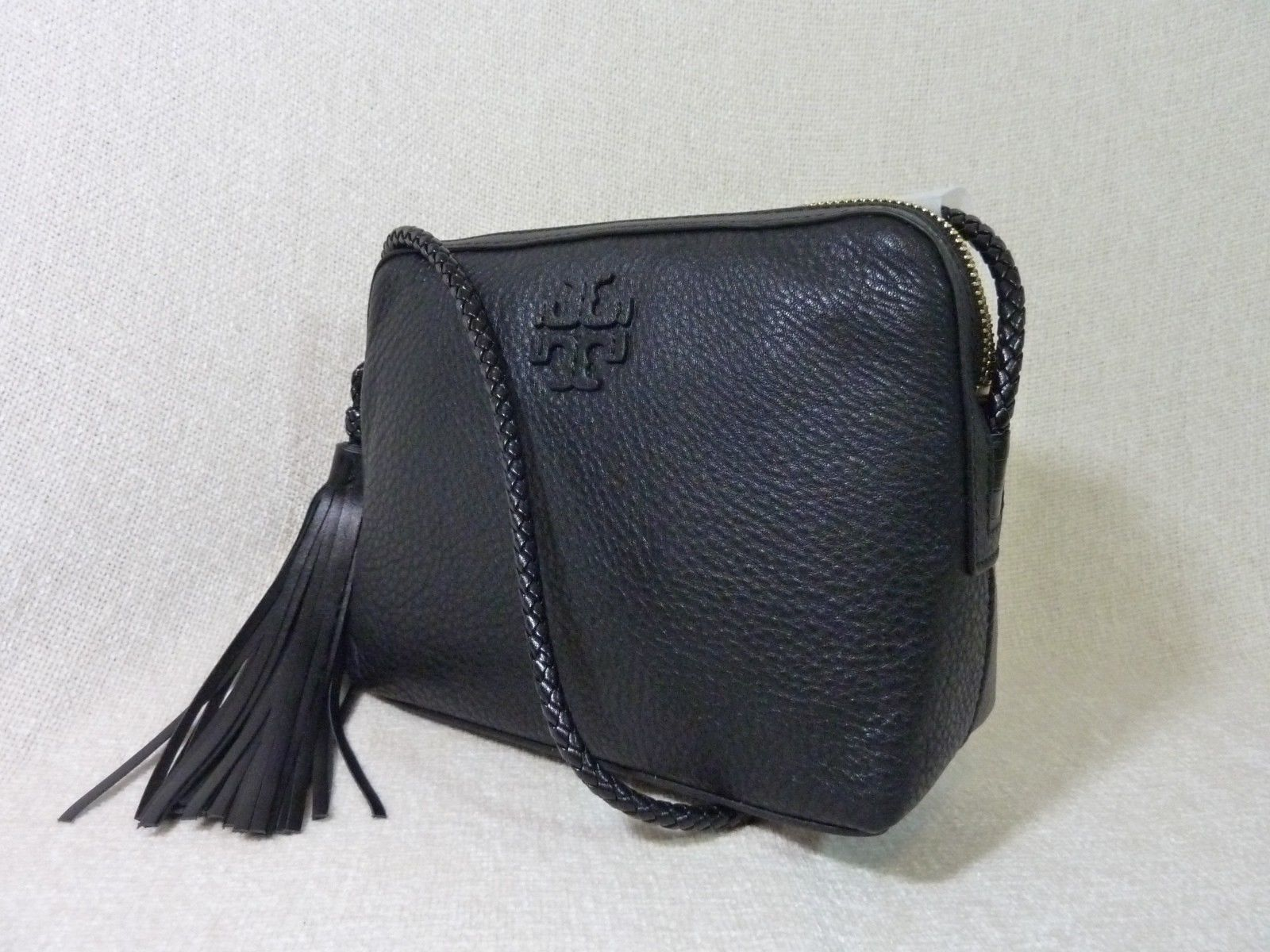 NWT Tory Burch Black Pebbled Leather Taylor Camera Cross Body Bag $350