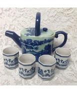 Celadon Glazed, Oval Shape,  Variant Blue Willow Teapot with 4 Handless ... - $118.70