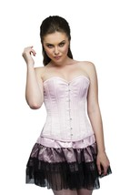 Baby Pink Satin Double Bone Overbust Top Tutu Skirt PLUS SIZE Corset Pro... - $91.66