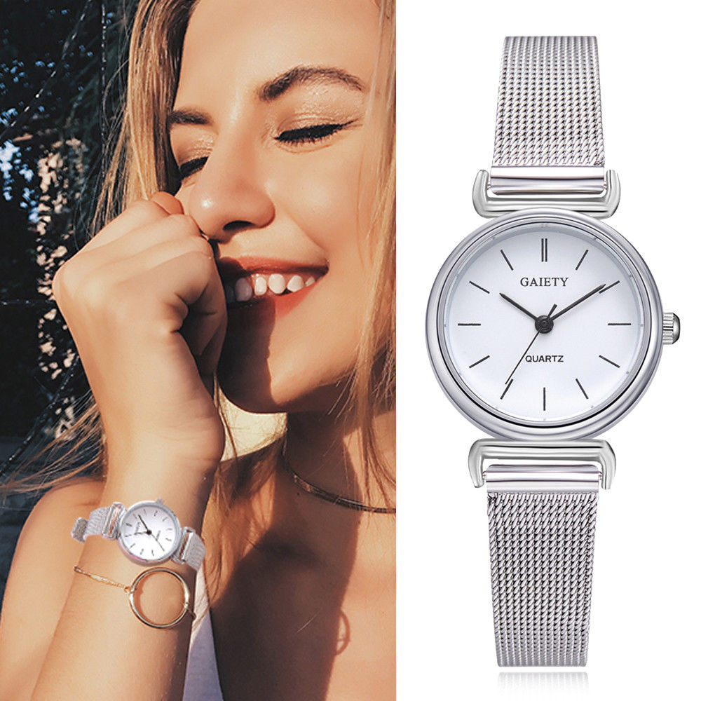 Gaiety® Women Stainless Steel Silver Gold Mesh Watch Unique Simple Casual Quartz