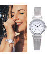 Gaiety® Women Stainless Steel Silver Gold Mesh Watch Unique Simple Casua... - $5.24+