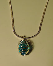 Dainty Blue Briolette Crystal in Silver Cage Pendant Necklace - $8.00
