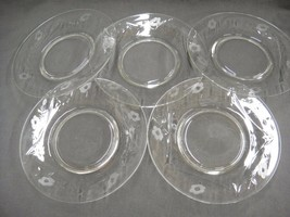 "Vintage Etched Flowers on Clear Glass Salad Plates 8"" Lot of 5 - $18.80"