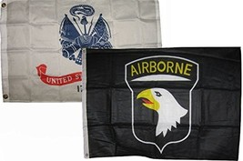 ALBATROS 2 ft x 3 ft 2x3 Army White with Airborne 101st Black Flags Flag... - $53.11