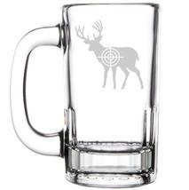 12oz Beer Mug Stein Glass Deer With Bullseye Hunting - $12.86