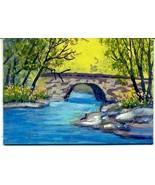 Orig Oil Painting aceo landscape Stone Bridge  CONYERS ATC - $5.00