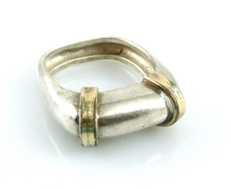 Vintage 1960s 70s Handmade Sterling Silver & 14K Gold Modernist Design  ... - $245.00