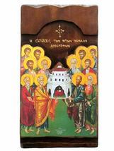 Wooden Greek Christian Orthodox Wood Icon of The Twelve Apostles / K4 - $158.30