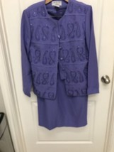 CHE STUDIO BY Kathy Che PURPLE Embellished Polyester  Suit 10 b41 - $37.39