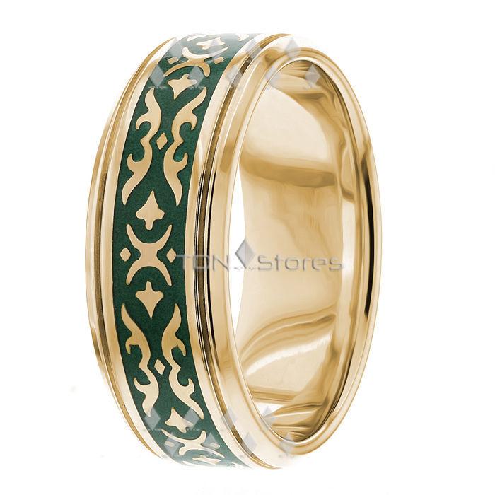 14K SOLID GOLD GREEN ENAMEL MENS CELTIC WEDDING BANDS RINGS MANS 9MM BAND RING