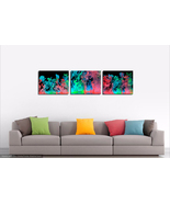 "Abstract Metal Print Wall Decor Triptych-""Color Hydration"" - $300.00"
