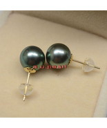 Top 11-12MM round real NATURAL SOUTH SEA black PEARL stud EARRINGS 18K gold - $586.45