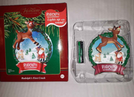 Carlton Cards Heirloom Christmas Ornament Rudolph's First Crush Lighted Sound - $11.38