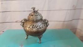 Vintage Copper Bottomed Foo Dog Urn Pot Incense Burner Footed Detailed C... - $27.69