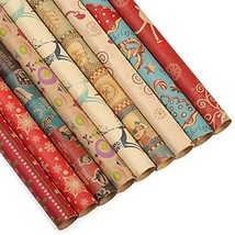 Kesoto Christmas Kraft Wrapping Paper Bundle, 27 Rolls - 9 Different Pat... - $49.06