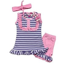 Cute Kids Clothing Girl's Purple & Pink Ruffled Boutique Short Outfit(M ... - $26.99