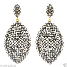18.41 Ct Diamond Pave 18 K Gold Dangle Earrings 925 Sterling Silver Fine... - $2,485.28