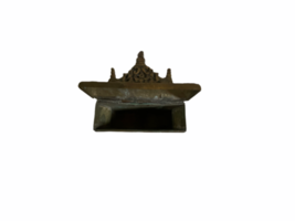 Antique brass letter holder French 19thc Pen Note Exotic Bird Floral Wall Mount image 7