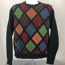 Geoffrey Beene Mens Sweater Regular Fit Lambs Wool Argyle Gray Crew Neck... - $14.96