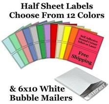 6x10 ( White ) Poly Bubble Mailers + Half Sheet Self Adhesive Shipping L... - $1.99+