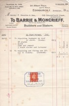 Barrie & Moncrieff Edinburgh 1942 Builders and Slaters Stamp Receipt Ref... - $7.55