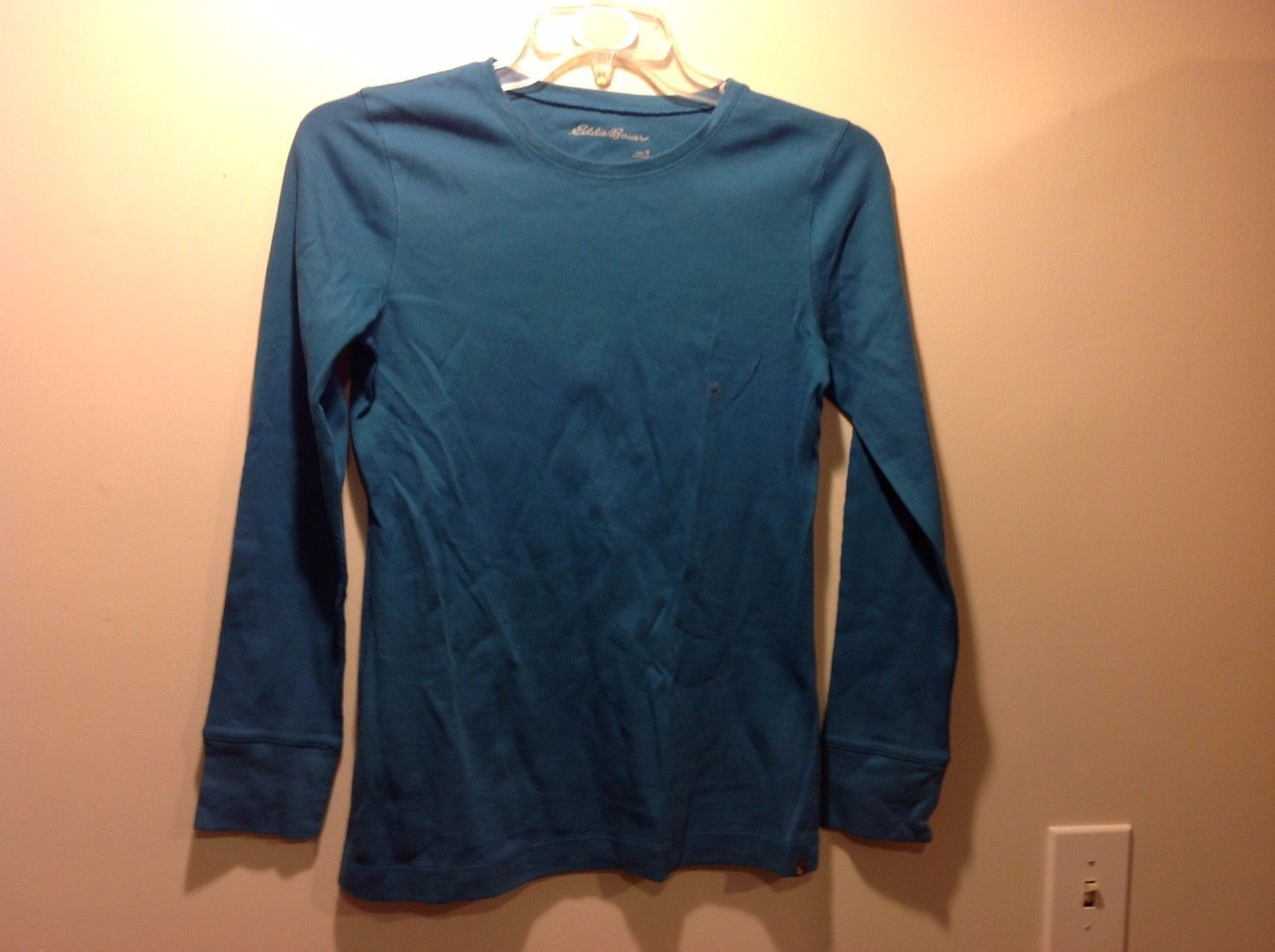 Ladies Eddie Bauer Long Sleeve Teal Textured Shirt Sz M