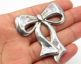 925 Sterling Silver - Vintage Large Hair Bow Designed Brooch Pin - BP2257 - $53.08