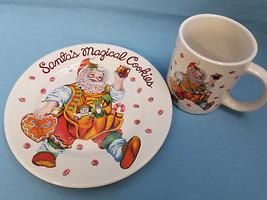 Santa's Magical Cookies Holiday Cup & Plate Cheryl Ann Johnson Design Wh... - $28.75