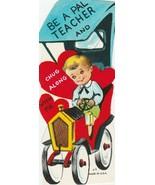 Vintage Valentine Card Boy in Old Fashioned Car 1962 Die-Cut for Child - $8.90